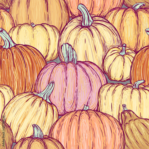 Cotton fabric Seamless pattern with bright sketchy pumpkins. Vector illustration