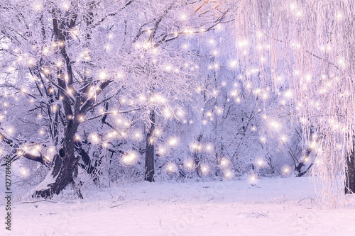Aluminium Prints Purple Christmas Holiday Background with color snowflakes