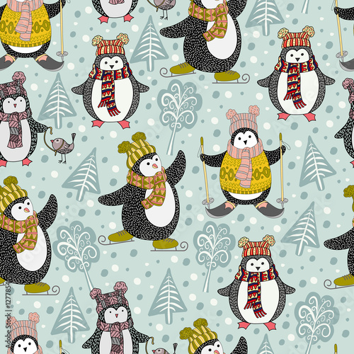 Cotton fabric Seamless pattern with cute cartoon penguins, hand-drawn vector illustration