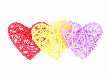 Three Wicker Hearts On Woven Wood In Heart Shape. Yellow, Red, Purple Woven Valentines Day/Christmas/ Mothers Day/ Anniversary Decorations - Hearts Isolated, On White Background.