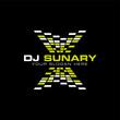 DJ electronic music logo design vector