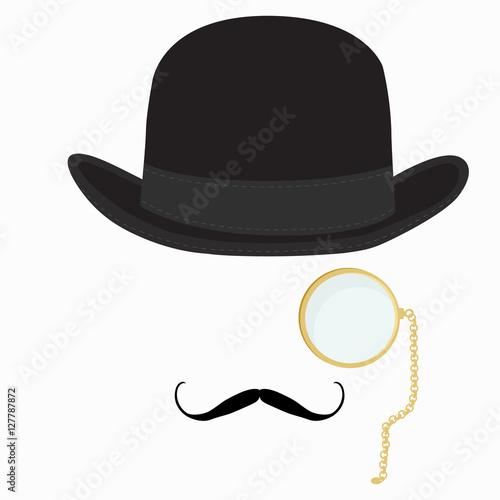 Obraz na plátně Gentleman hat, mustache and monocle