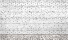 Empty Room With White Brick Wall And Wooden Floor. 3d Illustrati
