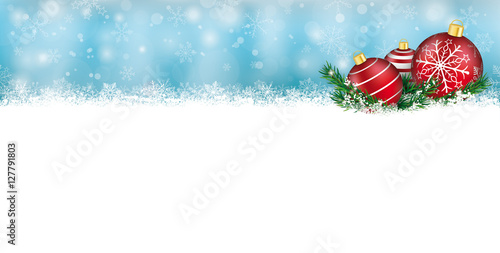 Christmas Header.Snow Banner Red Baubles Twigs Christmas Header Buy This
