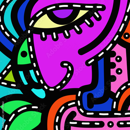 Aluminium Prints Classical abstraction abstract shapes and colors