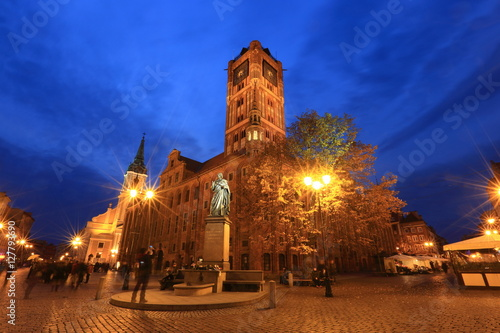Old Town Market Square by night in Torun, Poland, historic city centre