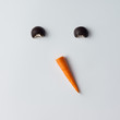 Leinwanddruck Bild - Snowman face made of cookies and carrot. Minimal holiday concept