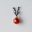 Leinwanddruck Bild - Christmas decoration with reindeer antlers. Minimal holiday conc