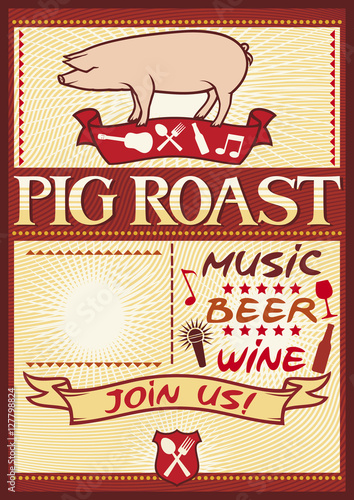 Stampa su Tela pig roast poster (barbecue party design)