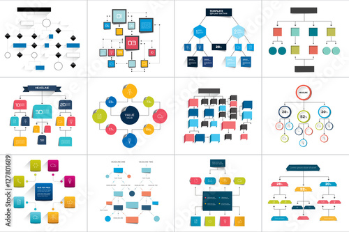 Mega set of various  flowcharts schemes, diagrams Canvas Print