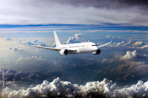 Fotografie, Tablou White passenger wide-body plane