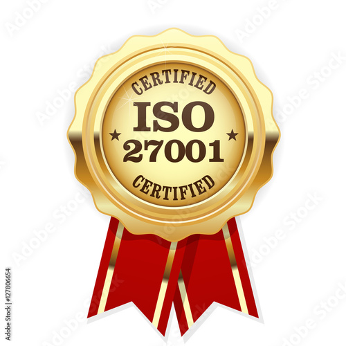 Photo ISO 27001 standard certified rosette - Information security mana