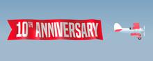 10 Years Anniversary Vector Illustration, Banner, Flyer