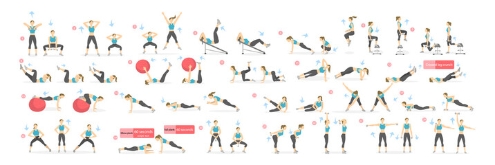 Fototapeta na wymiar Workout girl set. Woman doing fitness and yoga exercises. Lunges and squats, plank and abc. Full body workout.