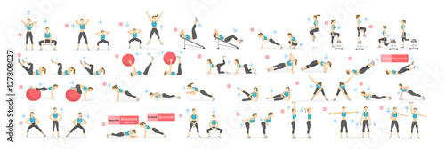 Workout girl set Fototapeta