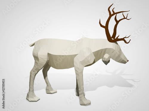 3d Illustration Of Origami Reindeer Polygonal Geometric Style Deer