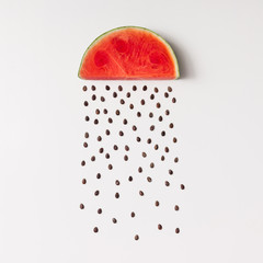 Fototapeta Owoce Watermellon slice with seeds raining