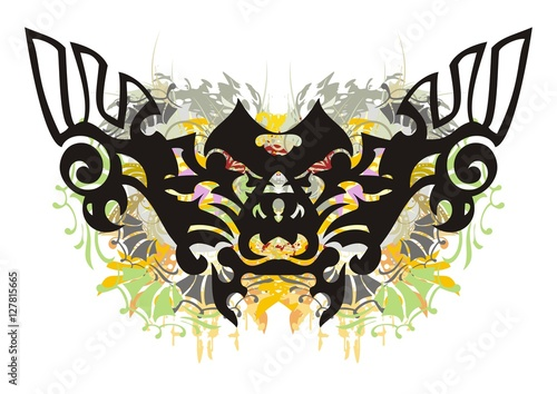 Foto op Canvas Vlinders in Grunge Grunge ornate butterfly. Colorful splashes in the terrible butterfly formed by the heads of an eagle