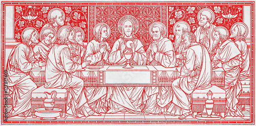 BRATISLAVA, SLOVAKIA, NOVEMBER - 21, 2016: The lithography of Last Supper in Missale Romanum by unknown artist with the initials F Fototapeta