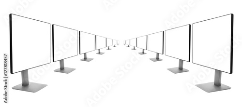 Fotografia, Obraz  two rows of monitors receding into the distance