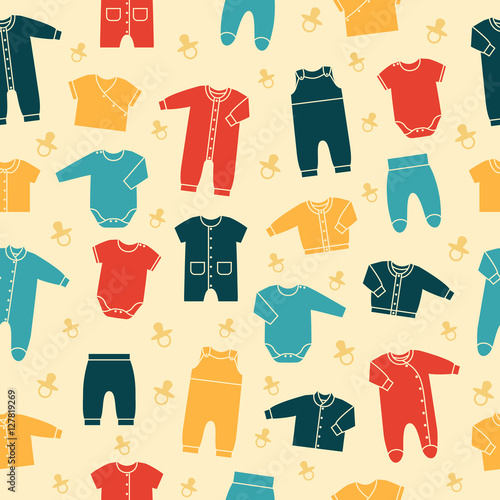 73b4a9404 Seamless retro pattern with newborn baby clothes on yellow ...
