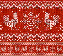 Red Holiday Seamless Pattern With Knitted Roosters And Snowflakes. Christmas Knitting Scheme Design. Cocks - Symbol Of New Year 2017.