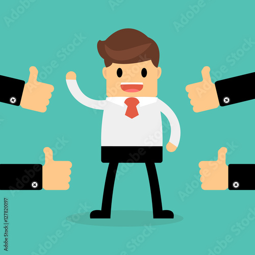 Fotografía  Happy Businessman with many hands thumbs up. feedback concept.