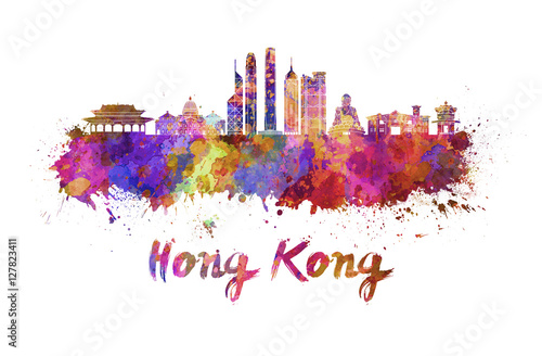 Foto op Canvas Barcelona Hong Kong V2 skyline in watercolor
