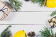 Christmas mock up with lemons on light wooden background