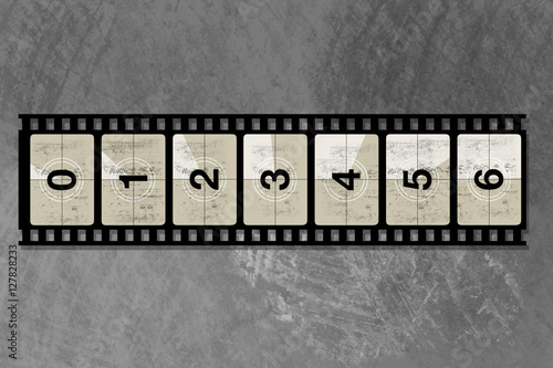 Deurstickers Retro reel film counter