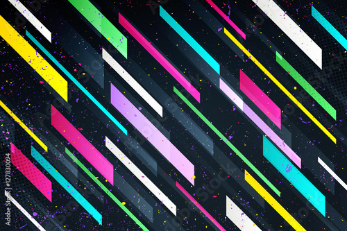 Fotografia  abstract colorful stripes over black background