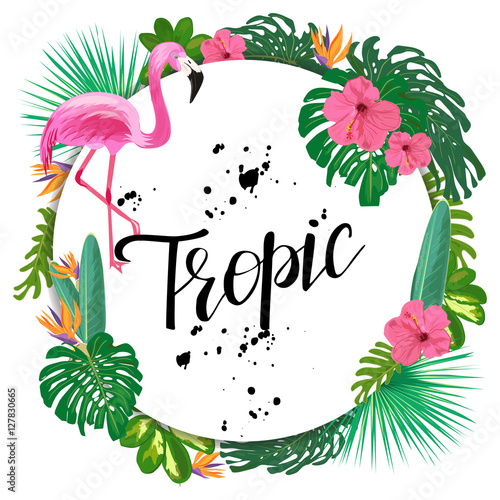 Bright Template With Tropical Plants Flowers And Pink Flamingo