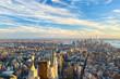 Manhattan skyline at sunset aerial view, New York City