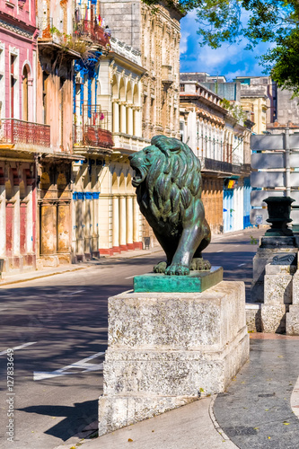Poster Havana Colorful street in a decaying neighborhood in Old Havana with the bronze lion at El Prado boulevard