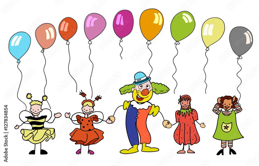Fasching Clown Mit Kindern Unter Bunten Ballons Foto Poster
