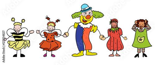 Fasching Clown Mit Kindergarten Kindern Lachen Und Winken Buy This