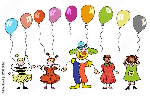 Fasching Clown Mit Kindern Unter Bunten Ballons Buy This Stock