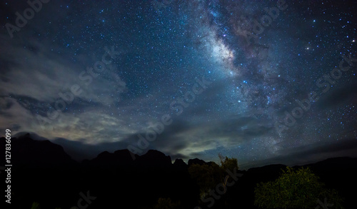 Foto auf Leinwand Blaue Nacht Milky Way. Beautiful night sky