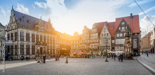 Foto op Canvas Grijs Bremen market square panorama at sunset, Germany