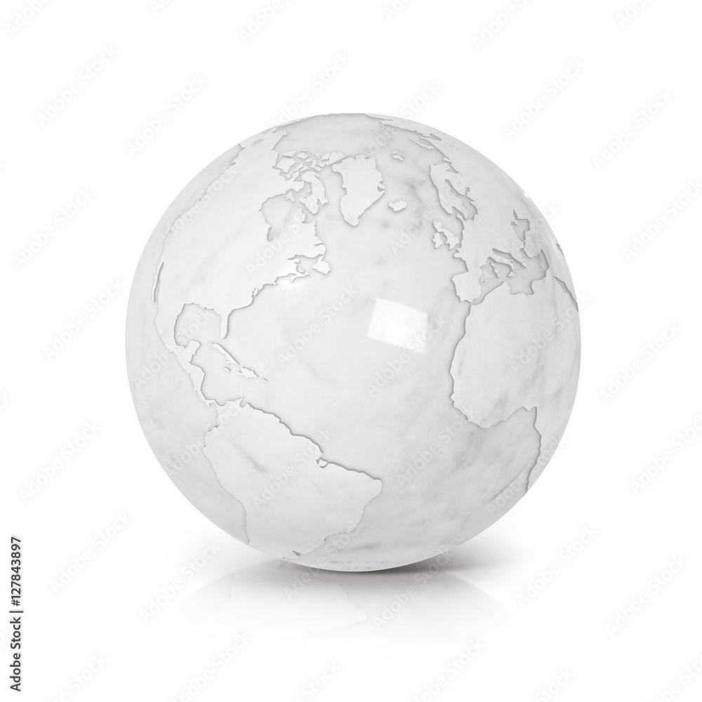 White Marble globe 3D illustration North and South America map on ...