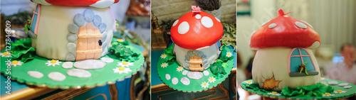 Fotografía  sweet mushroom cake for kids party
