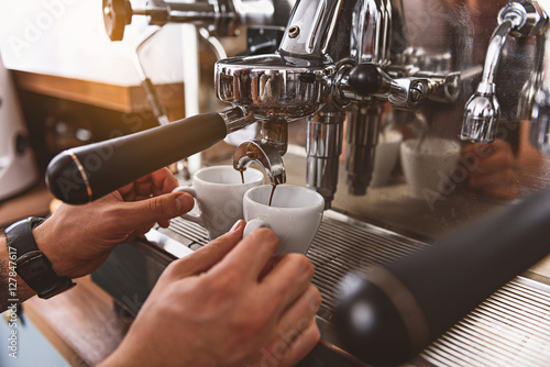 Fotografie, Obraz fresh beverage pouring from the coffee machine
