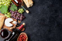 Red And White Wine, Grape, Cheese And Sausages