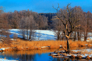 Fototapeta Rzeki i Jeziora Zimowa Rzeka