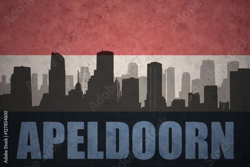 abstract silhouette of the city with text Apeldoorn at the vintage dutch flag Wallpaper Mural