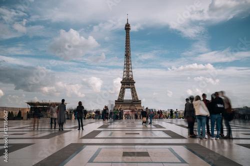 Poster Artistique Eiffel Tower. Paris. France. Famous historical landmark on the quay of a river Seine. Romantic, tourist, architecture symbol. Toned