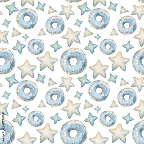 Materiał do szycia Ręcznie malowane pączki akwarela bezszwowe wzór. Niebieski, mięty i wanilia przeszklone pączki na białym tle