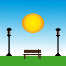 Bench With Lamp At Day With Sun.
