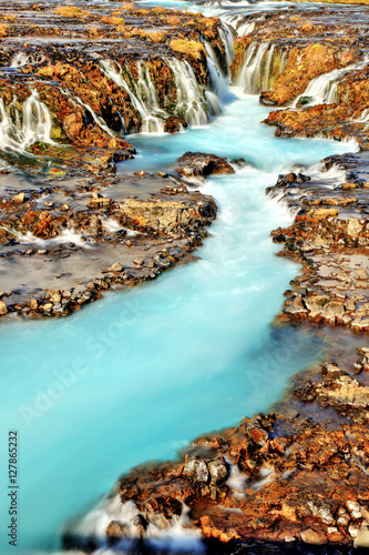 Photo Stands Turquoise Bruarfoss Waterfall in Iceland