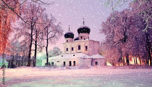 Tuinposter Purper Winter night landscape - Cathedral of the Nativity of Our lady in Saint Anthony Monastery in Veliky Novgorod, Russia